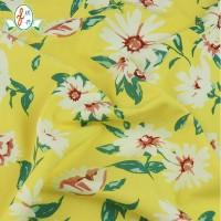 明黄碎花印花针织弹力面料 夏日时尚高弹米高布 数码印泳衣面料