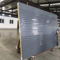 聚氨酯暗钉横装岩棉复合板,V8版型横装彩钢岩棉夹芯板