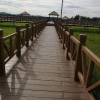 泰安水浒建材水泥护栏V型仿木栏杆景观水利学校公园围栏水浒园林